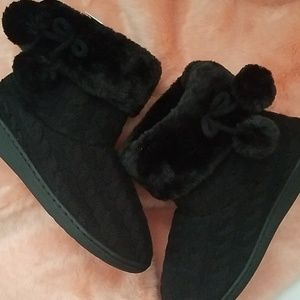 Black Cable knit Slipper Bootie